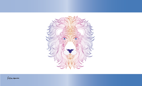 Löwenkopf bunt Flagge, Coloured Lion, Tierfahne